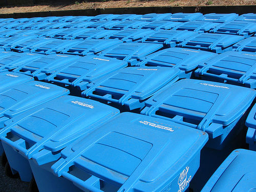 Blue recycling bins
